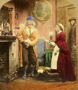 United Kingdom Very Kind Indeed Scene de Genre Stereo Photo hand colored 1865