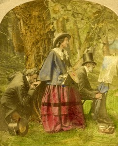 British Scene de Genre Very Pretty Indeed Elliott Stereo Photo hand colored 1865
