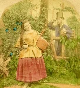 British Scene de Genre Photographic Fantasy Old Stereo Photo hand colored 1865