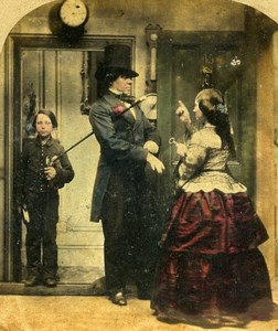 British Scene de Genre Going Out Alfred Silvester Stereo Photo hand colored 1865