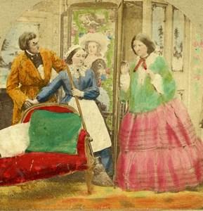 British Scene de Genre An Awkward Interruption Stereo Photo hand colored 1865
