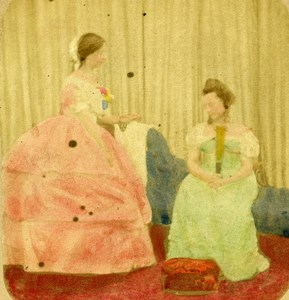 United Kingdom Scene de Genre 2 Women Old Stereo Photo hand colored 1865