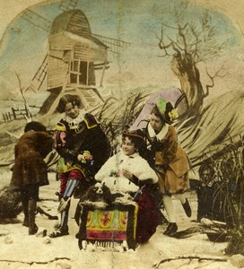 Royaume Uni Scene de Genre The Rivals Ancienne Photo Stereo colorisé 1865