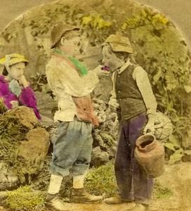 United Kingdom Scene de Genre The Loan of a Bite Stereo Photo hand colored 1865