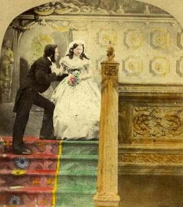 United Kingdom Scene de Genre Good Bye Old Stereo Photo hand colored 1865