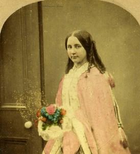 United Kingdom Scene de Genre Evening Old LSC Stereo Photo hand colored 1865