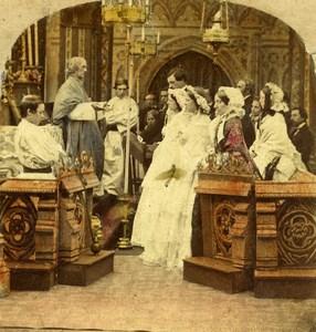 United Kingdom Scene de Genre The Marriage Old Stereo Photo hand colored 1865