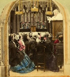 United Kingdom Scene de Genre the Sermon Mass Old Stereo Photo hand colored 1865