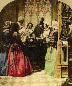 United Kingdom Scene de Genre Christening Elliott Stereo Photo hand colored 1865