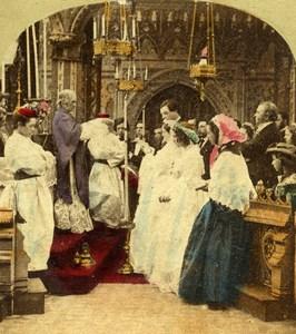 United Kingdom Scene de Genre Communion? Old Stereo Photo hand colored 1865