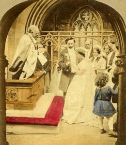 United Kingdom Scene de Genre Wedding Old Stereo Photo hand colored 1865