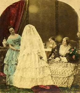 United Kingdom Scene de Genre Mariage Bride Old Stereo Photo hand colored 1865