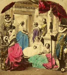 British Scene de Genre Photographic Fantasy Old Stereo Photo hand colored 1865