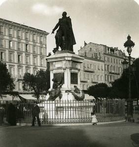 France Nice Statue du Maréchal Massena Ancienne Photo Stereo NPG 1905