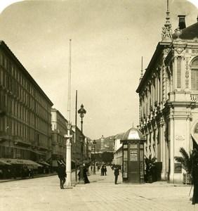 France Nice Avenue Felix Faure Kiosque a Journaux Ancienne Photo Stereo NPG 1905