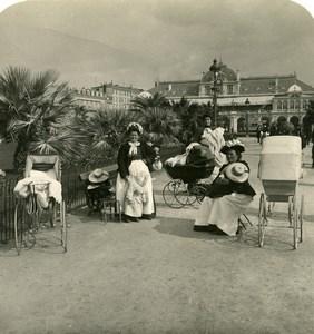 France Nice Meres ou Nourrices et Landaus Nouveaux Jardins Ancienne Photo Stereo NPG 1905