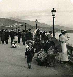 France Monte Carlo Terrace of Casino Sunday Walk Old Stereo Photo NPG 1905