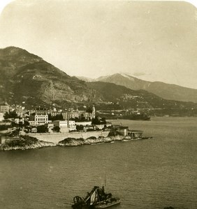 France Monaco Panorama from Castle towards Menton Old Stereo Photo NPG 1905