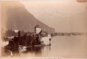 Chillon Dent du Midi Lake Houses old Albumen Photo 1890