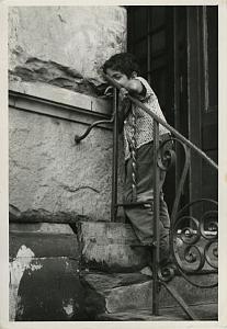 Shy Boy on old Stone Stairs Chris Mackey Photo 1960's