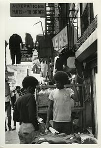 2 Black Boys in Busy Street Chris Mackey Photo 1972
