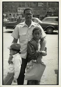 Father & 2 Boys in Street Chris Mackey Photo 1970's