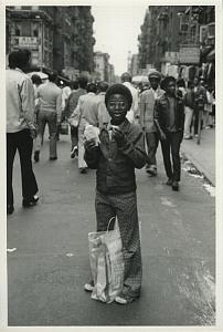 Happy Boy in Busy Street Chris Mackey Photo 1970's