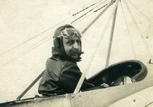 Louis Bleriot Aviation Pioneer in Cockpit old Photo 1910