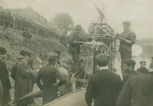 Alberto Santos-Dumont Aviation Pioneer Hydroplane on Seine River old Photo 1907