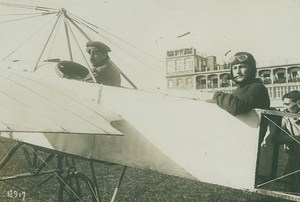 Francois Deroye and passenger Deadly Crash Aviation old Photo 1914