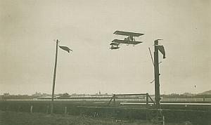 Voisin Goupy Biplane in flight Aviation old Photo 1910