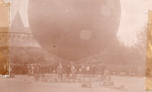 Russia Moscow Crowd around Tethered Balloon Aviation old Photo 1909