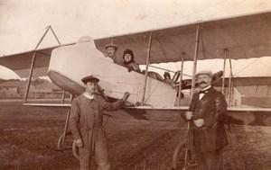 Russia Moscow Aviation Farman Dux Alphonse Poiree & Passenger old Photo 1914