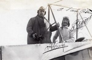 Russie Pionnier de l'Aviation Adolphe Pegoud Autographe Ancienne Photo 1914