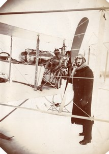 Russie Aerodrome Moscou WWI Aviation Boris Rossinsky Biplan Skis Ancienne Photo 1915