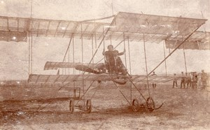Russie Aviation Pilote et Passager sur Biplan Farman? Ancienne Photo 1910's