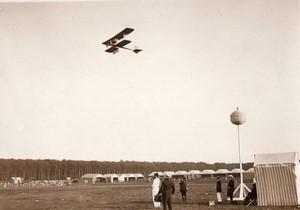 Semaine d'Aviation de Rouen Bathiat sur Biplan Breguet Ancienne Photo Rol 1910