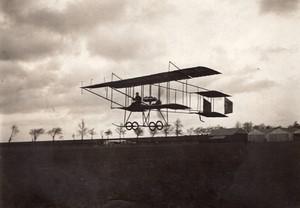 Etampes Aviation Coupe Femina Helene Dutrieu sur Farman Ancienne Photo Branger 1910