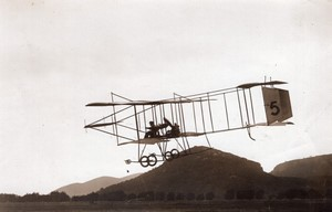Cannes Port Aviation Joseph Christiaens sur Farman Ancienne Photo Branger 1910