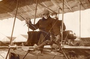 Etampes Aviation Weymann et Bouttiaux sur Biplan Farman Ancienne Photo Rol 1911