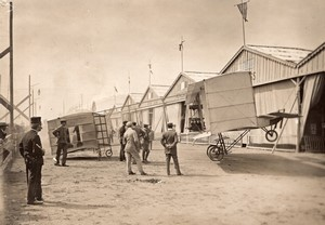 Italie Meeting de Brescia Biplan Voisin de Rougier Aviation Ancienne Photo 1909
