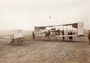 Issy? Aviation Maurice Colliex sur Canard Voisin Biplan sans queue Ancienne Photo Rol 1911