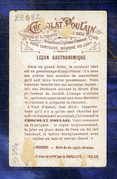 chromo-Poulain-relief-No-Liebig-S394-Gastronomie-Cook-Chef-cuisine-Embossed-4